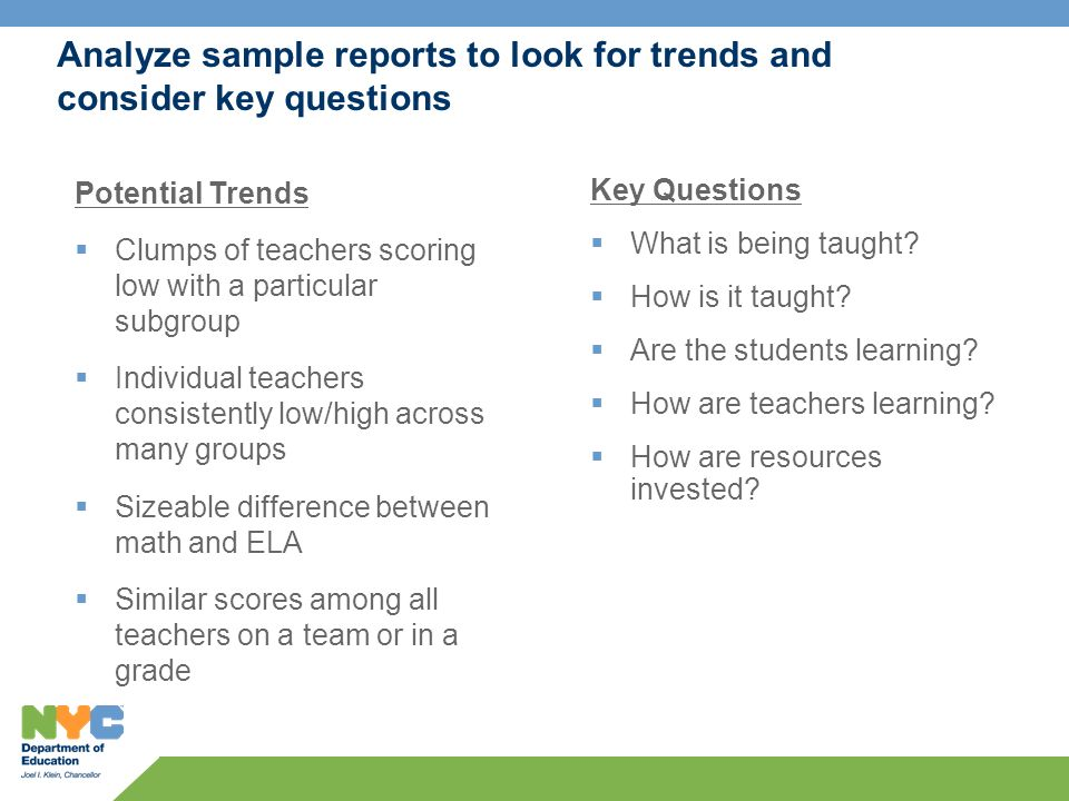 Analyze sample reports to look for trends and consider key questions Key Questions What is being taught.