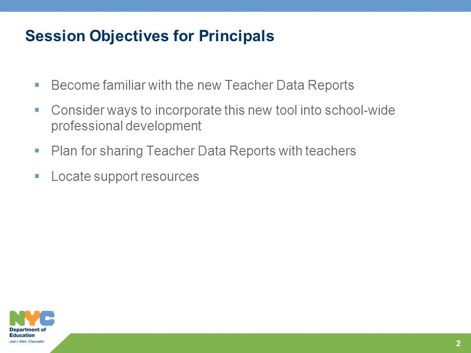 2 Session Objectives for Principals Become familiar with the new Teacher Data Reports Consider ways to incorporate this new tool into school-wide professional development Plan for sharing Teacher Data Reports with teachers Locate support resources