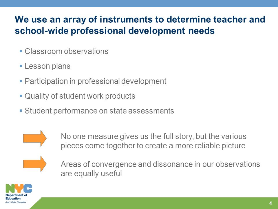 4 We use an array of instruments to determine teacher and school-wide professional development needs Classroom observations Lesson plans Participation in professional development Quality of student work products Student performance on state assessments No one measure gives us the full story, but the various pieces come together to create a more reliable picture Areas of convergence and dissonance in our observations are equally useful