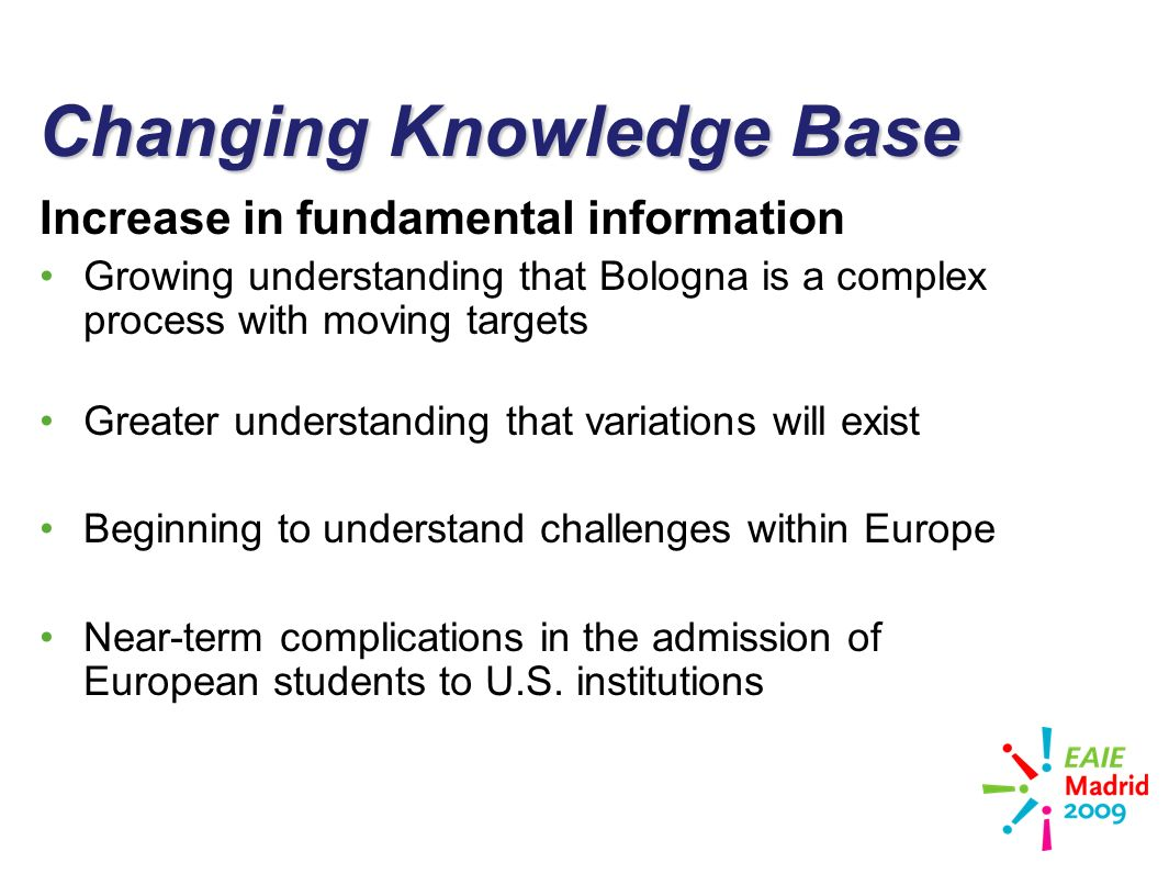 slide 13 Changing Knowledge Base Increase in fundamental information Growing understanding that Bologna is a complex process with moving targets Greater understanding that variations will exist Beginning to understand challenges within Europe Near-term complications in the admission of European students to U.S.