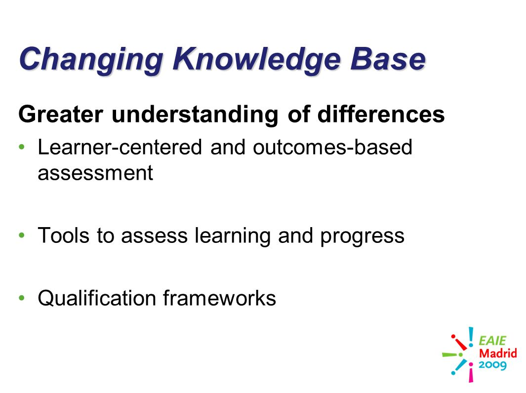 slide 14 Changing Knowledge Base Greater understanding of differences Learner-centered and outcomes-based assessment Tools to assess learning and progress Qualification frameworks