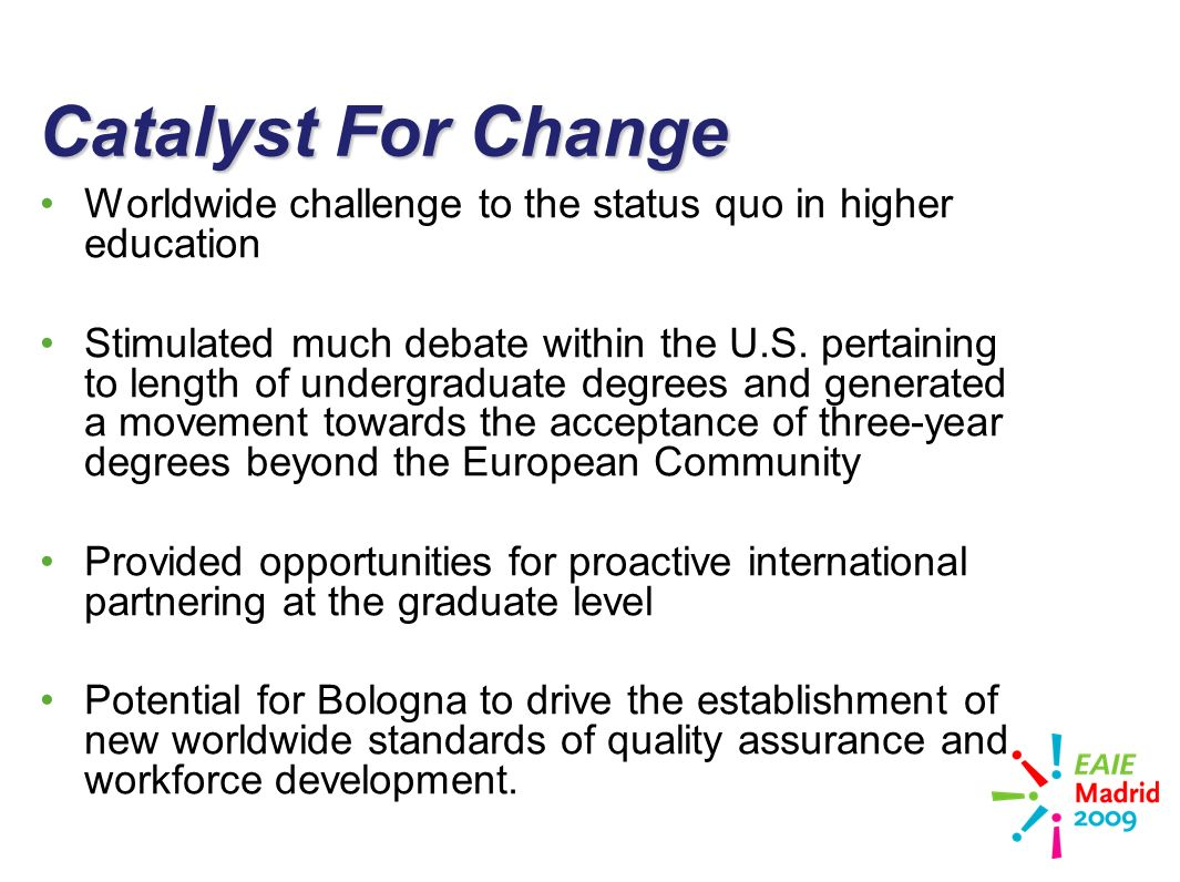 slide 19 Catalyst For Change Worldwide challenge to the status quo in higher education Stimulated much debate within the U.S.