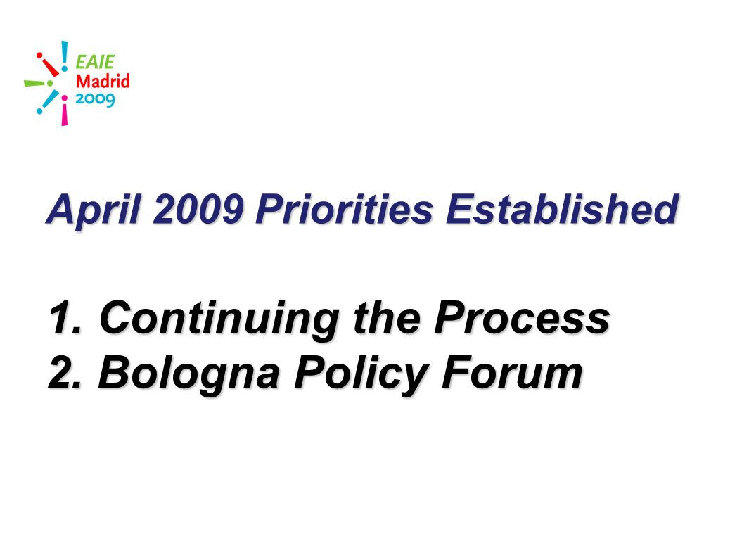 slide 31 April 2009 Priorities Established 1. Continuing the Process 2. Bologna Policy Forum