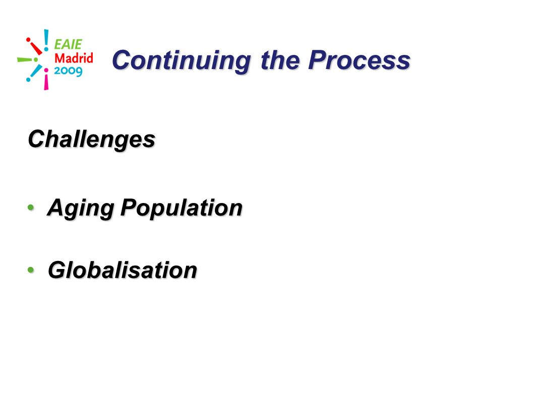 slide 32 Continuing the Process Challenges Aging PopulationAging Population GlobalisationGlobalisation