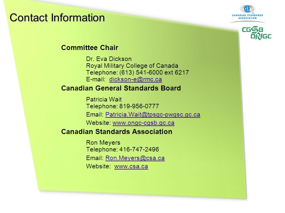 Contact Information Committee Chair Dr.
