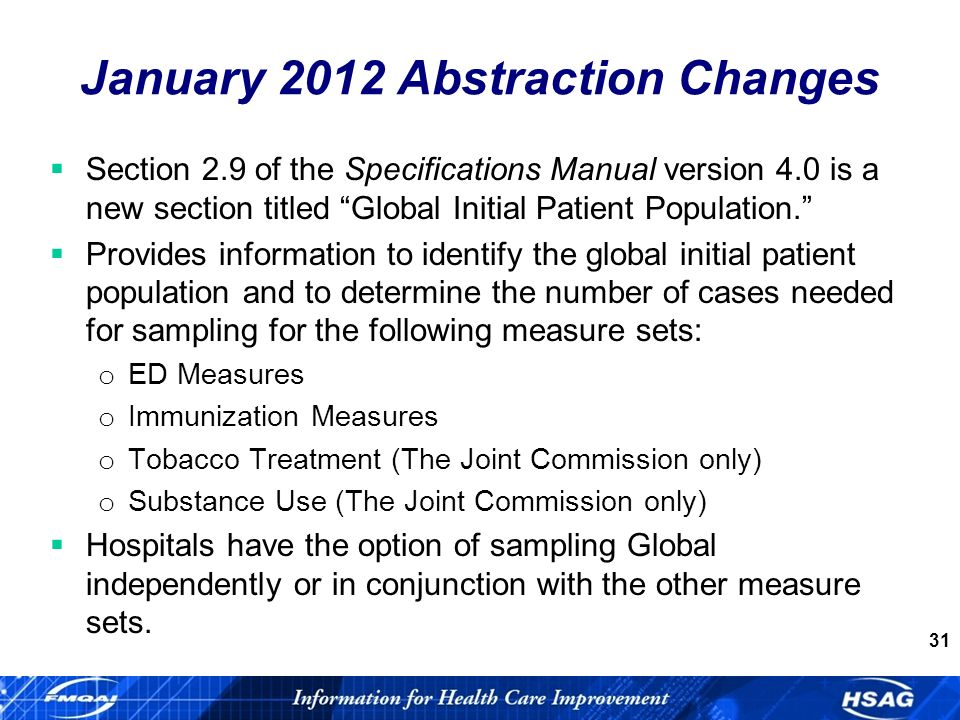 31 Section 2.9 of the Specifications Manual version 4.0 is a new section titled Global Initial Patient Population.