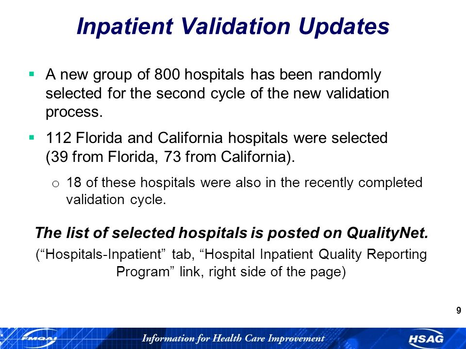 9 Inpatient Validation Updates A new group of 800 hospitals has been randomly selected for the second cycle of the new validation process.