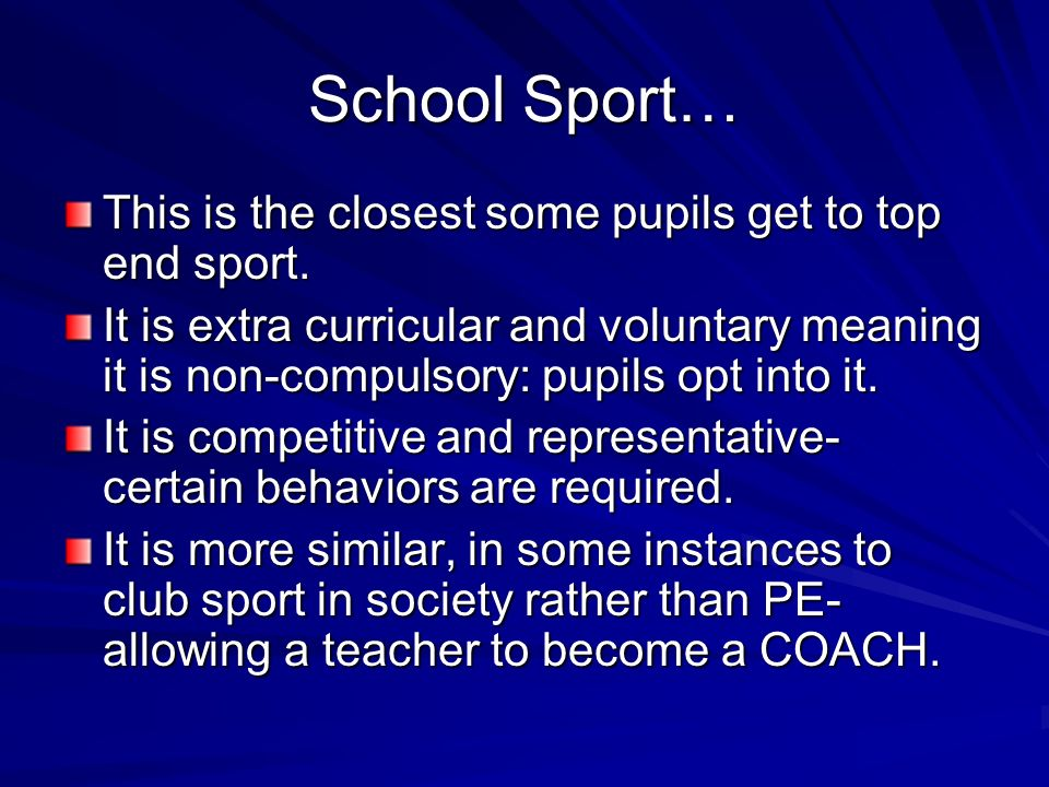 School Sport… This is the closest some pupils get to top end sport.