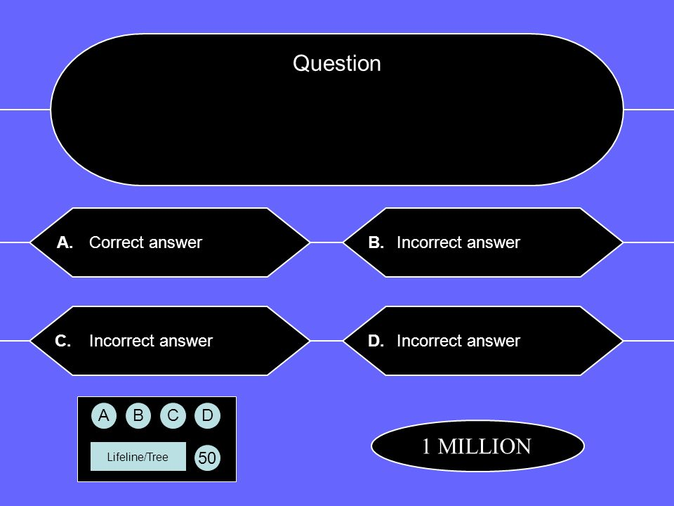 Question $ Lifeline/Tree Correct answer Incorrect answer A.B. C.D. CBAD 50