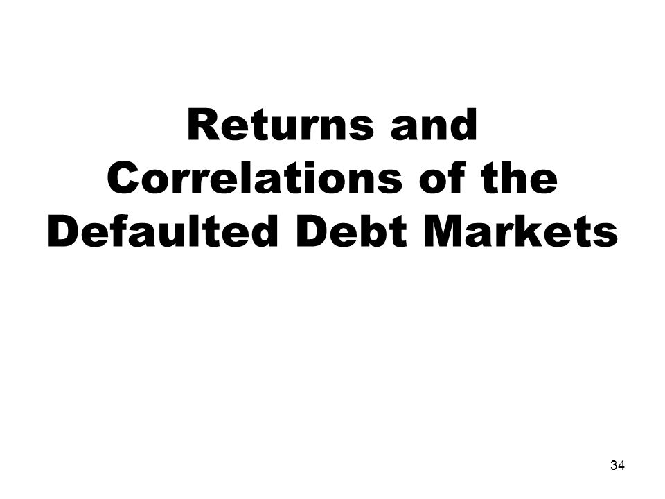 34 Returns and Correlations of the Defaulted Debt Markets