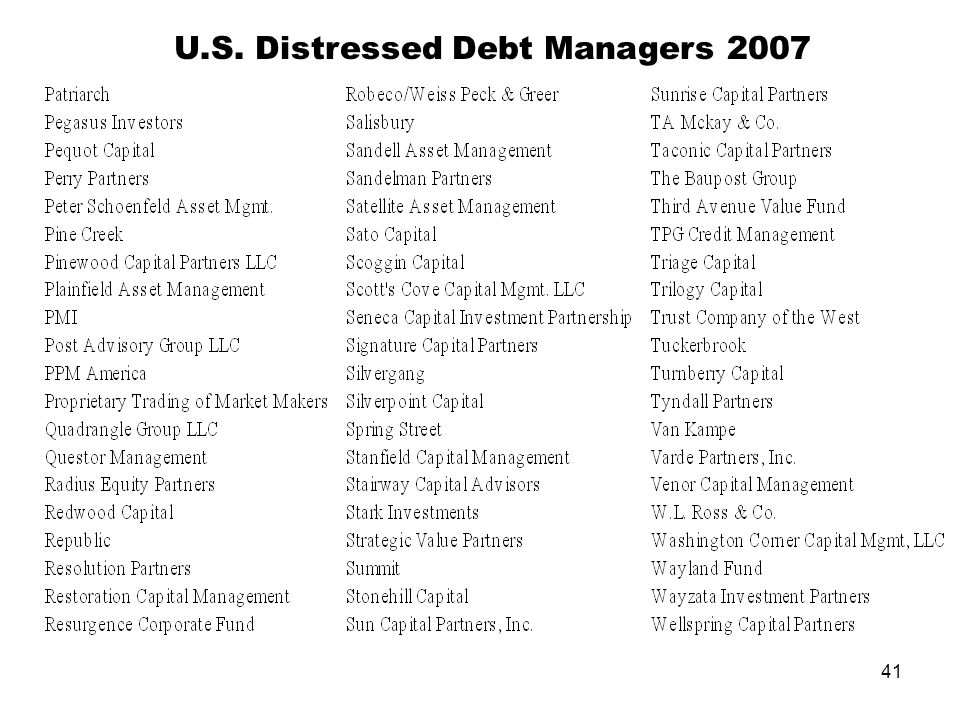41 U.S. Distressed Debt Managers 2007