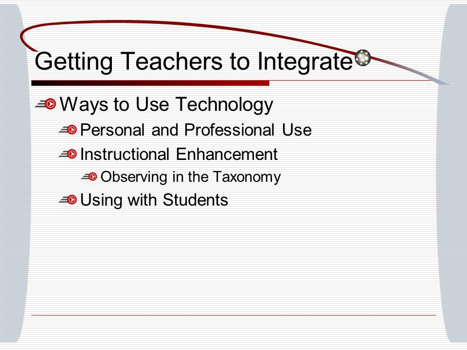 Getting Teachers to Integrate Ways to Use Technology Personal and Professional Use Instructional Enhancement Observing in the Taxonomy Using with Students