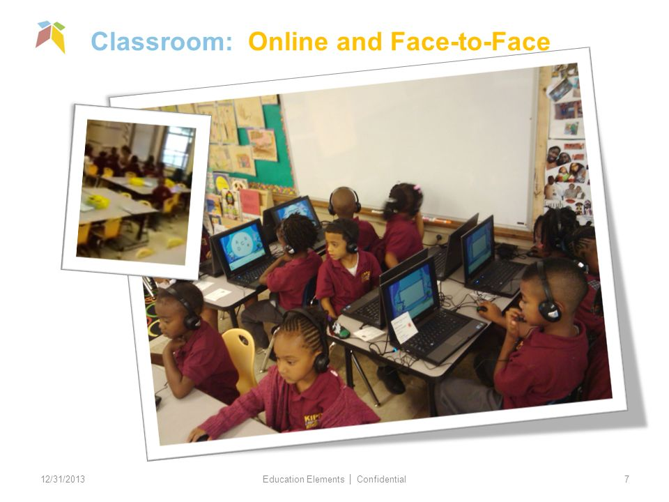 Classroom: Online and Face-to-Face 12/31/2013 Education Elements Confidential 7