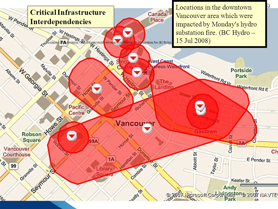 9 Locations in the downtown Vancouver area which were impacted by Monday s hydro substation fire.