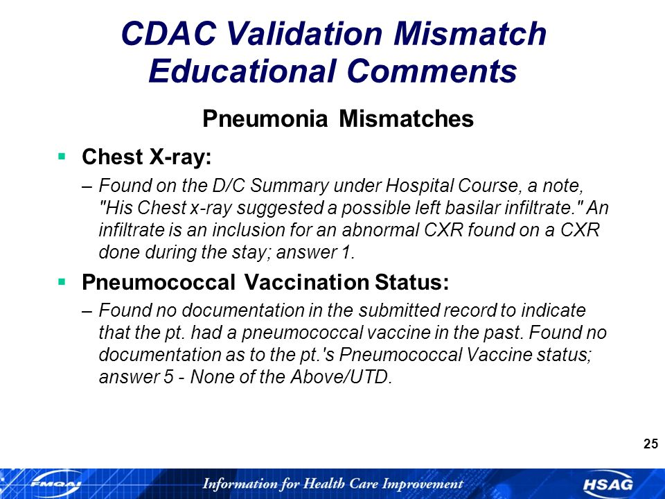 25 Pneumonia Mismatches Chest X-ray: –Found on the D/C Summary under Hospital Course, a note, His Chest x-ray suggested a possible left basilar infiltrate. An infiltrate is an inclusion for an abnormal CXR found on a CXR done during the stay; answer 1.