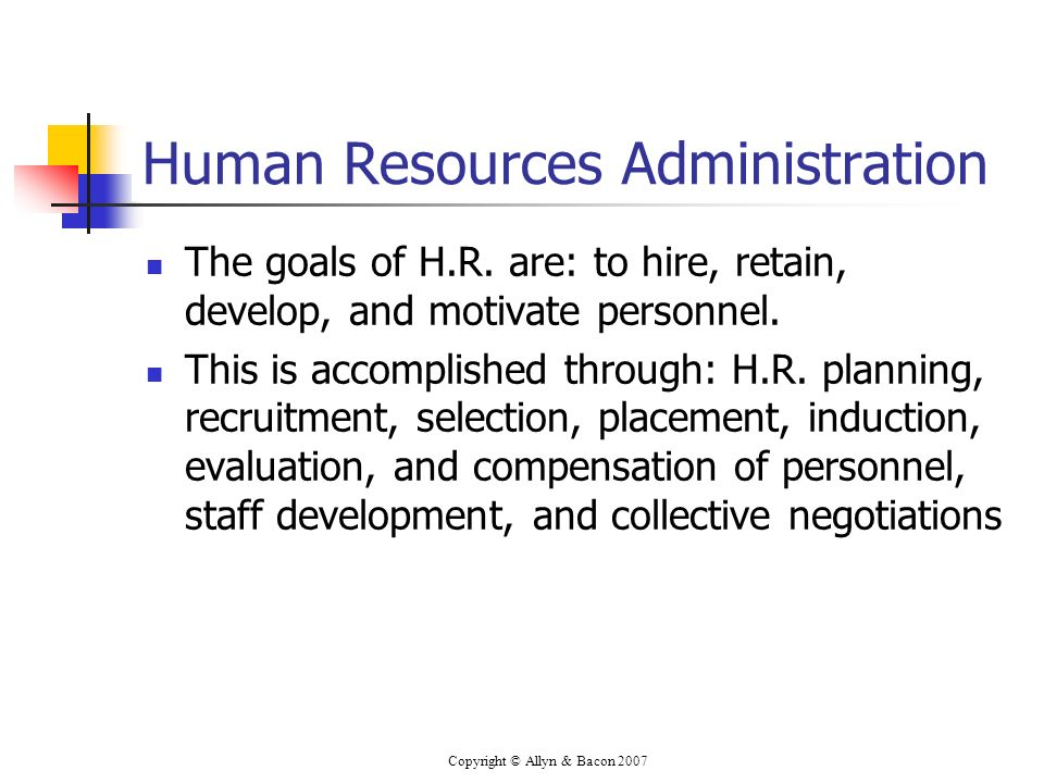 Copyright © Allyn & Bacon 2007 Human Resources Administration The goals of H.R.