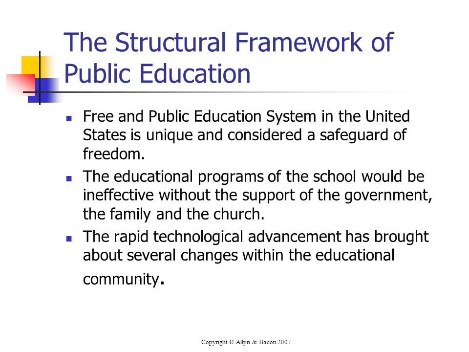 Copyright © Allyn & Bacon 2007 The Structural Framework of Public Education Free and Public Education System in the United States is unique and considered a safeguard of freedom.