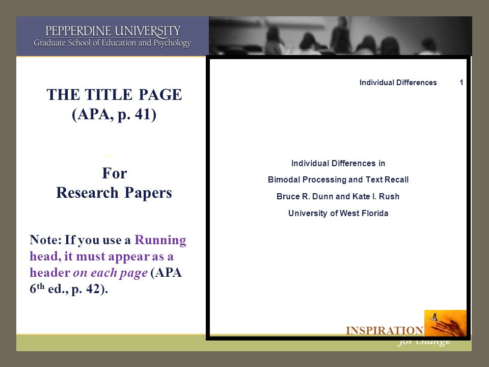 INSPIRATION for change APA: Documentation and Format A Workshop from the Writing Support Center Featuring 6 th edition updates