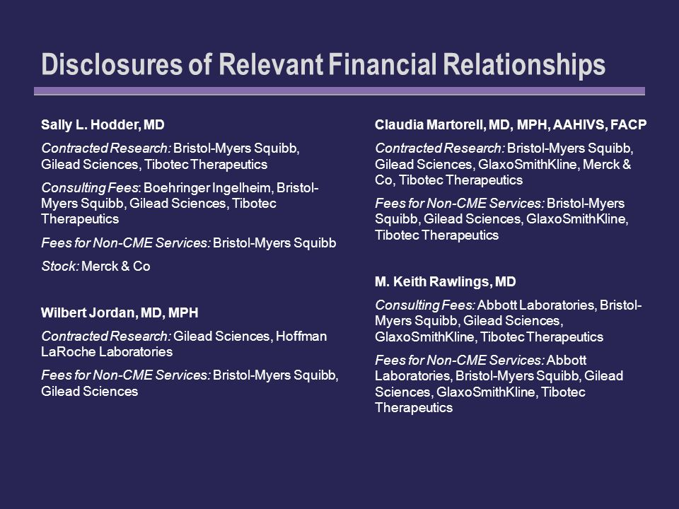 Disclosures of Relevant Financial Relationships Sally L.