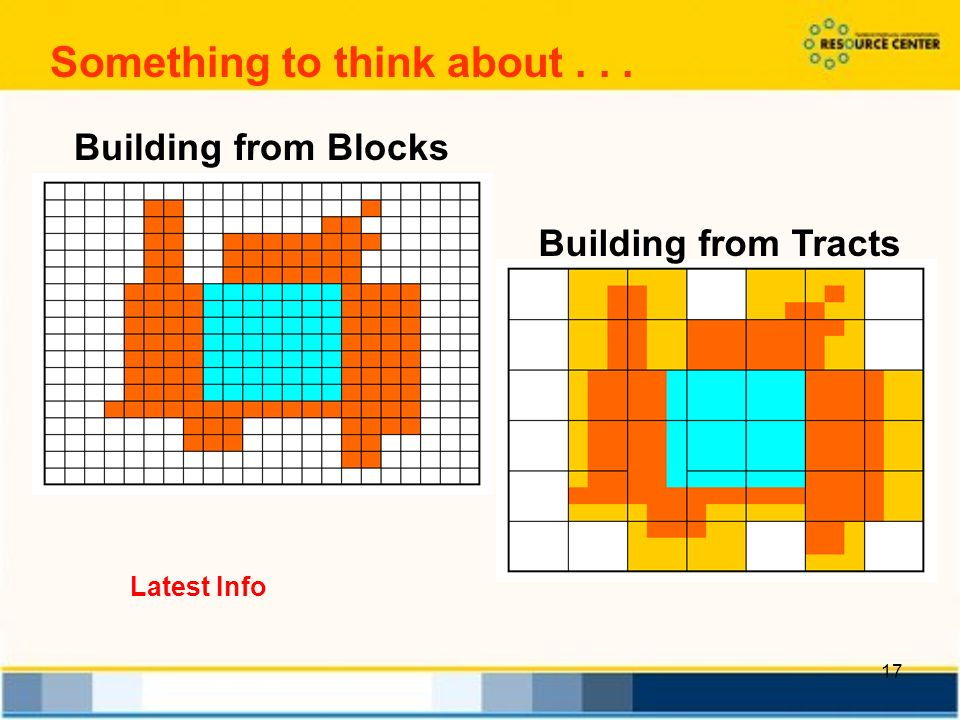 17 Something to think about... Building from Blocks Building from Tracts Latest Info