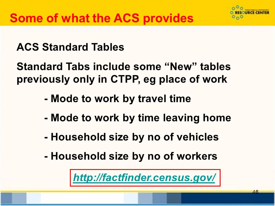 46 ACS Standard Tables Standard Tabs include some New tables previously only in CTPP, eg place of work - Mode to work by travel time - Mode to work by time leaving home - Household size by no of vehicles - Household size by no of workers Some of what the ACS provides