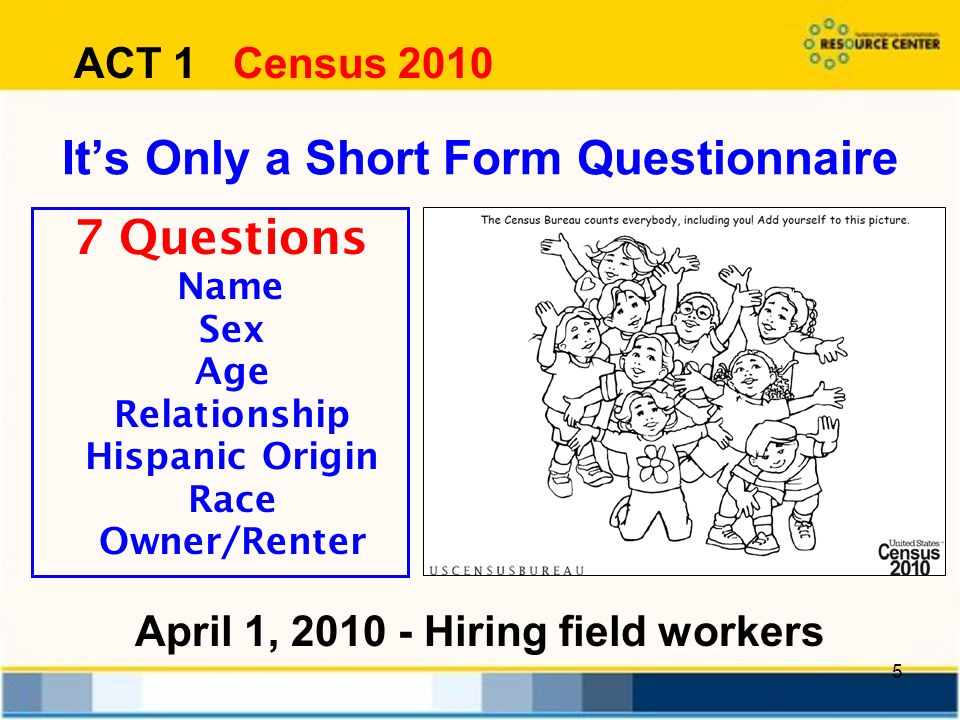 5 Its Only a Short Form Questionnaire 7 Questions Name Sex Age Relationship Hispanic Origin Race Owner/Renter ACT 1 Census 2010 April 1, Hiring field workers
