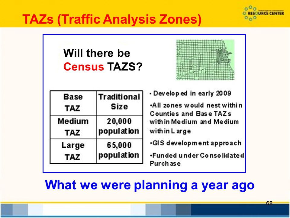 68 TAZs (Traffic Analysis Zones) What we were planning a year ago Will there be Census TAZS