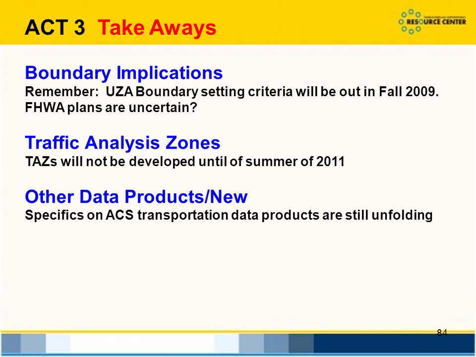 84 Boundary Implications Remember: UZA Boundary setting criteria will be out in Fall 2009.