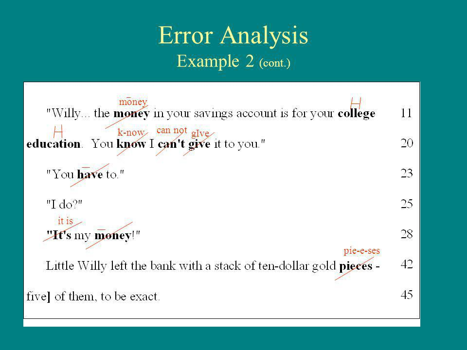 Error Analysis Example 2 (cont.) money k-now can not gIve it is pie-e-ses