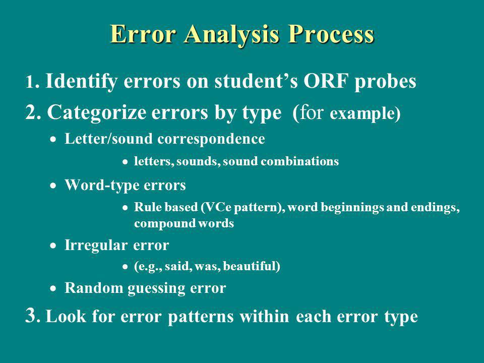 Error Analysis Process 1. Identify errors on students ORF probes 2.