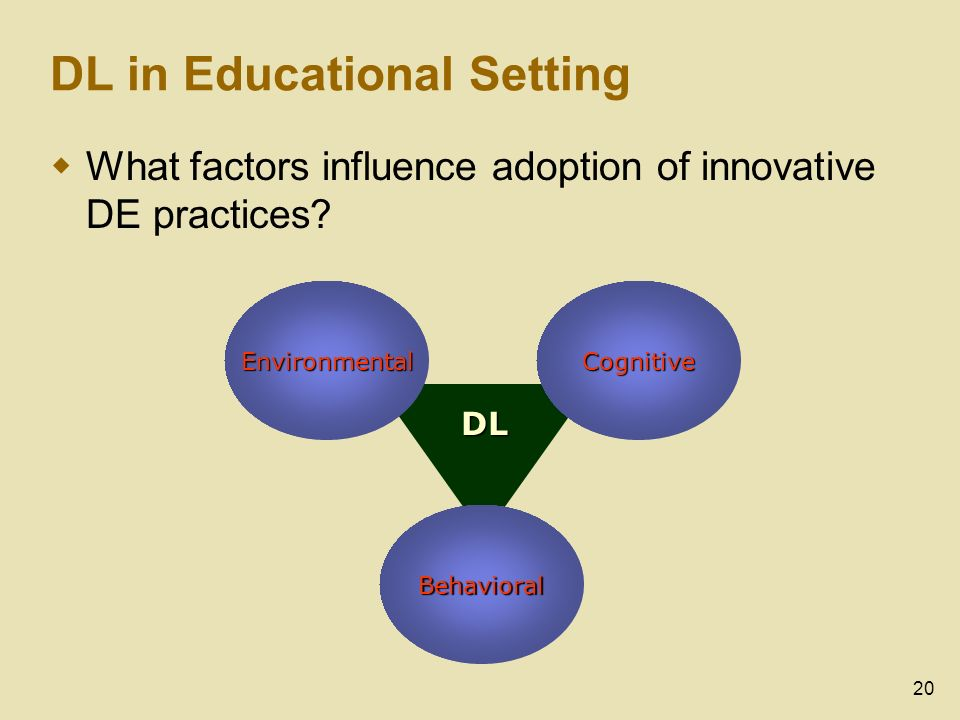 20 DL in Educational Setting What factors influence adoption of innovative DE practices.
