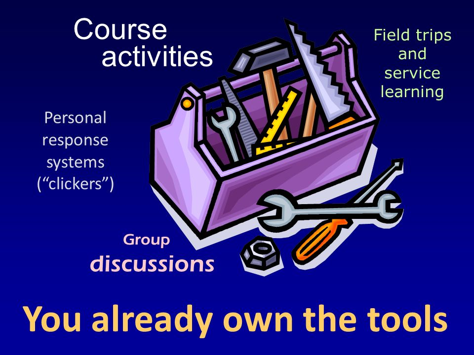 You already own the tools Course discussions Personal response systems (clickers) Field trips and service learning Group activities