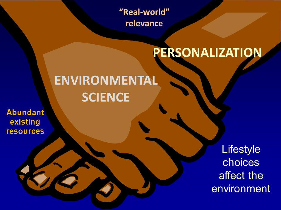 PERSONALIZATION ENVIRONMENTAL SCIENCE Real-world relevance Abundant existing resources Lifestyle choices affect the environment