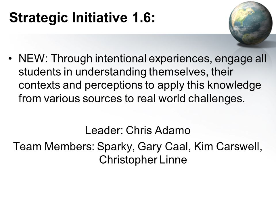 Strategic Initiative 1.6: NEW: Through intentional experiences, engage all students in understanding themselves, their contexts and perceptions to apply this knowledge from various sources to real world challenges.