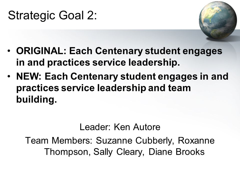 Strategic Goal 2: ORIGINAL: Each Centenary student engages in and practices service leadership.