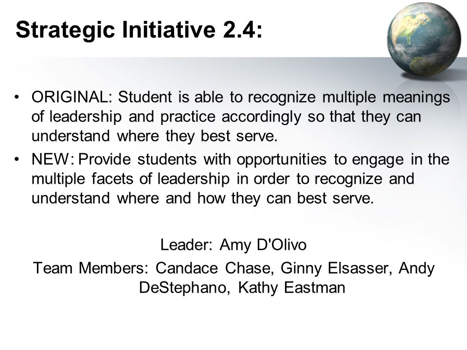 Strategic Initiative 2.4: ORIGINAL: Student is able to recognize multiple meanings of leadership and practice accordingly so that they can understand where they best serve.