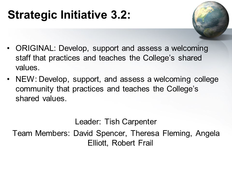 Strategic Initiative 3.2: ORIGINAL: Develop, support and assess a welcoming staff that practices and teaches the Colleges shared values.