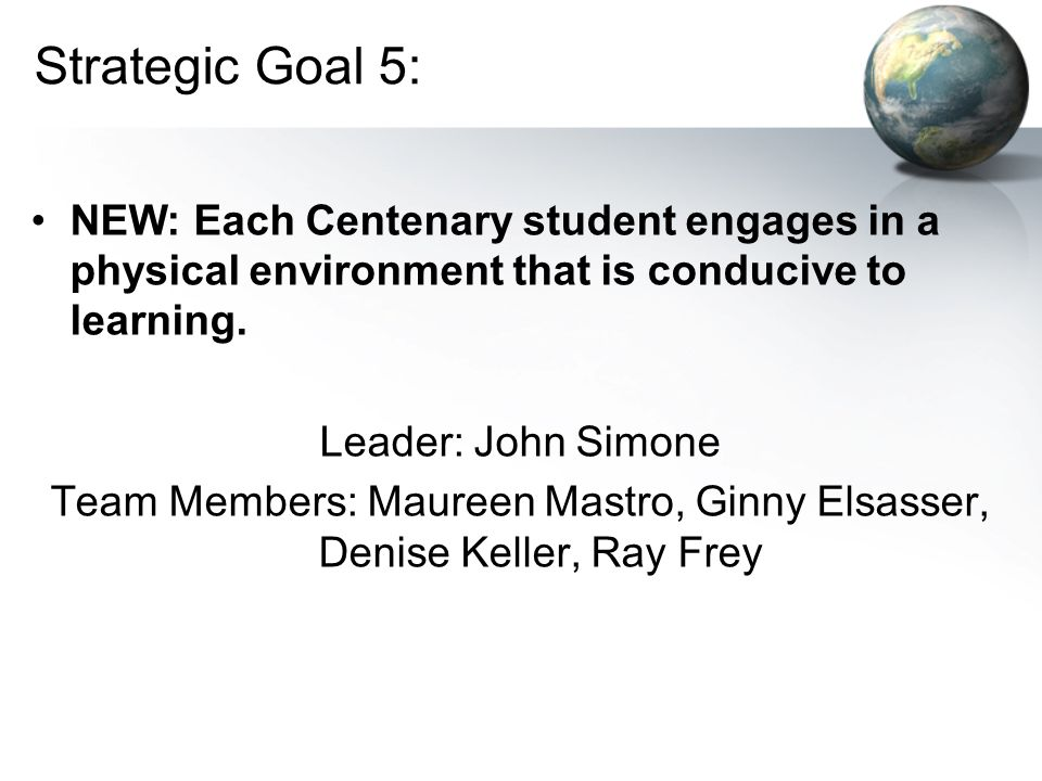 Strategic Goal 5: NEW: Each Centenary student engages in a physical environment that is conducive to learning.