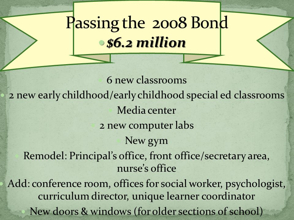 $6.2 million $6.2 million 6 new classrooms 2 new early childhood/early childhood special ed classrooms Media center 2 new computer labs New gym Remodel: Principals office, front office/secretary area, nurses office Add: conference room, offices for social worker, psychologist, curriculum director, unique learner coordinator New doors & windows (for older sections of school)