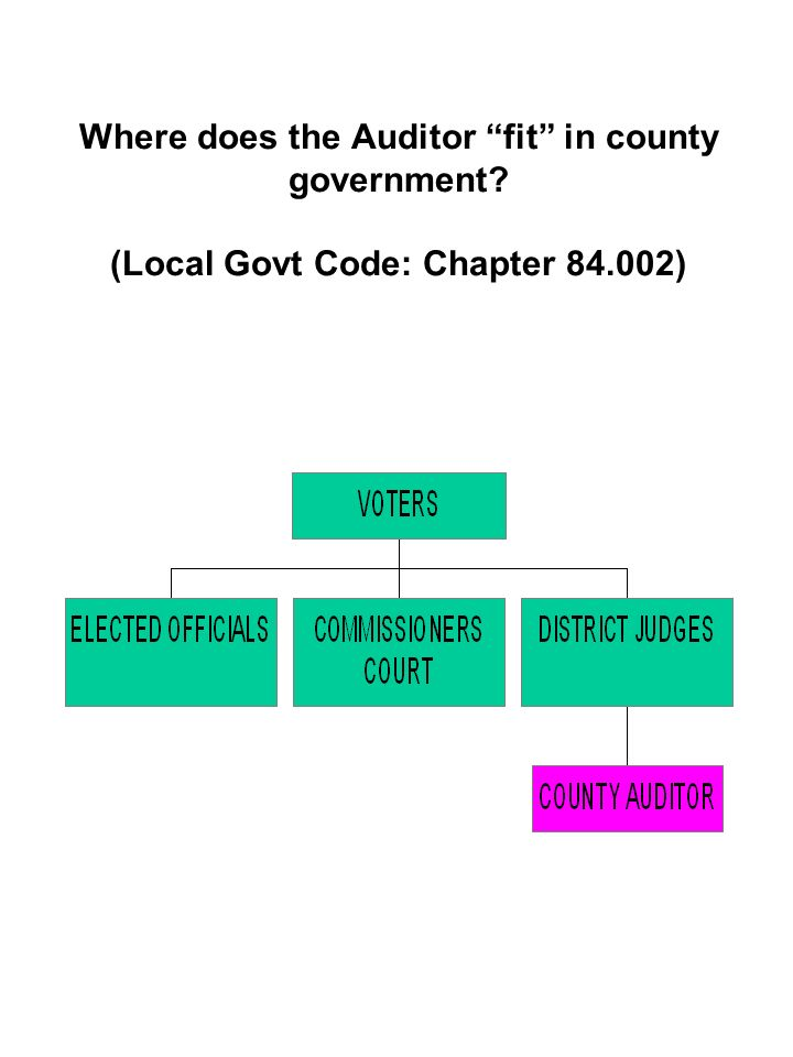 Where does the Auditor fit in county government (Local Govt Code: Chapter 84.002)