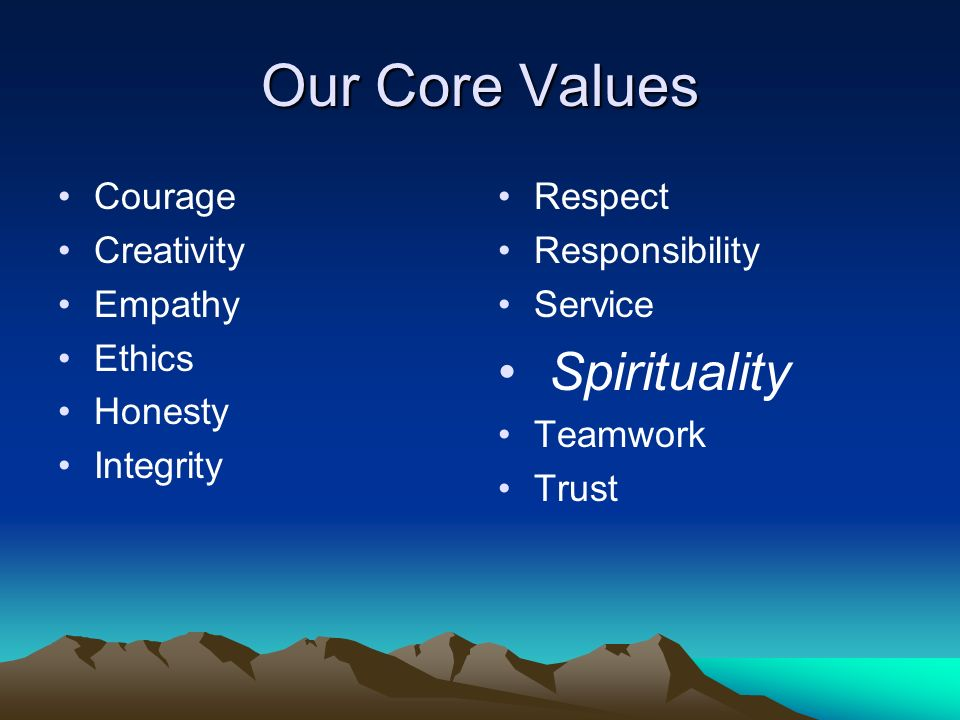 Our Core Values Courage Creativity Empathy Ethics Honesty Integrity Respect Responsibility Service Spirituality Teamwork Trust