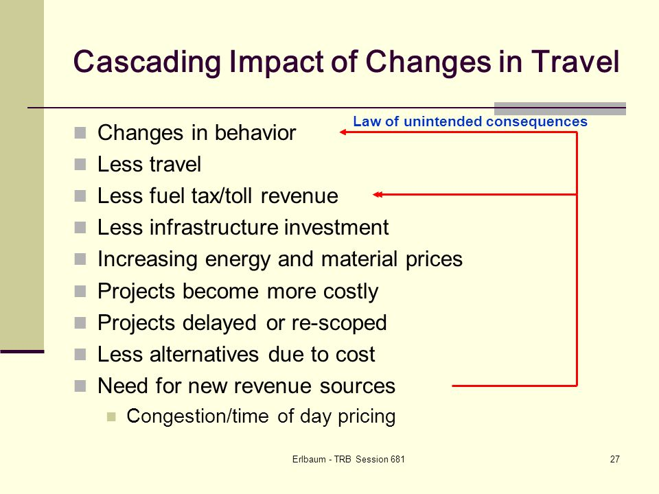 Erlbaum - TRB Session Cascading Impact of Changes in Travel Changes in behavior Less travel Less fuel tax/toll revenue Less infrastructure investment Increasing energy and material prices Projects become more costly Projects delayed or re-scoped Less alternatives due to cost Need for new revenue sources Congestion/time of day pricing Law of unintended consequences