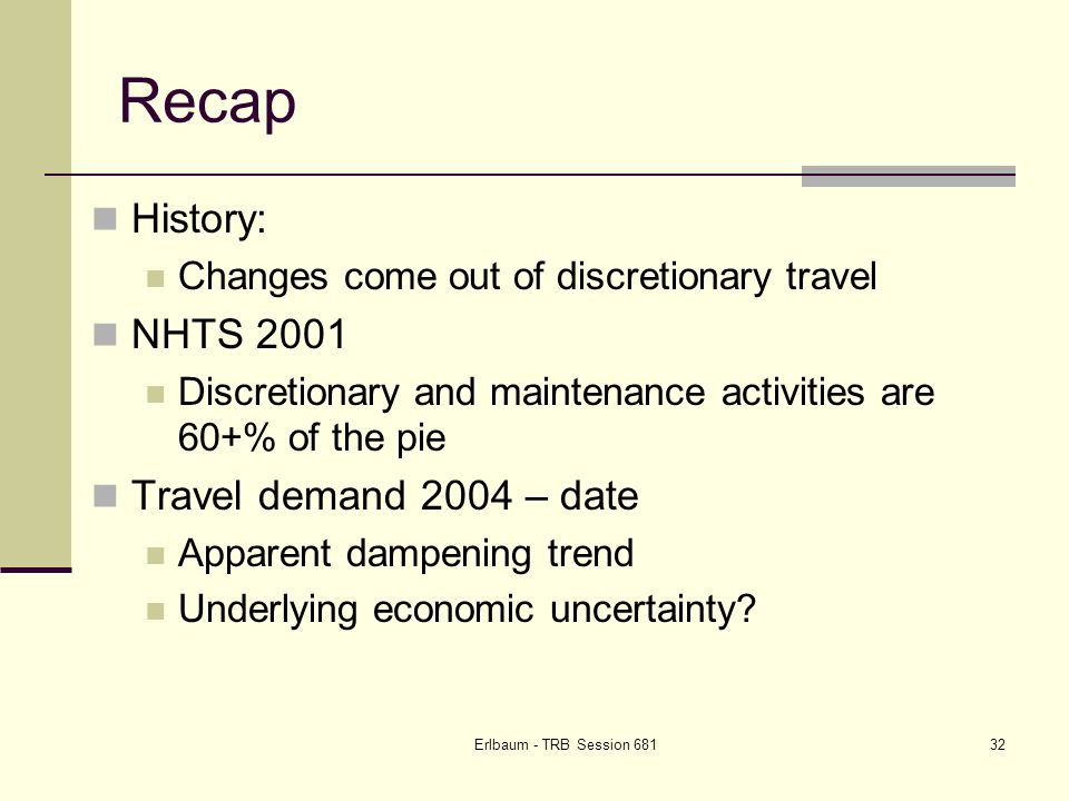 Erlbaum - TRB Session Recap History: Changes come out of discretionary travel NHTS 2001 Discretionary and maintenance activities are 60+% of the pie Travel demand 2004 – date Apparent dampening trend Underlying economic uncertainty