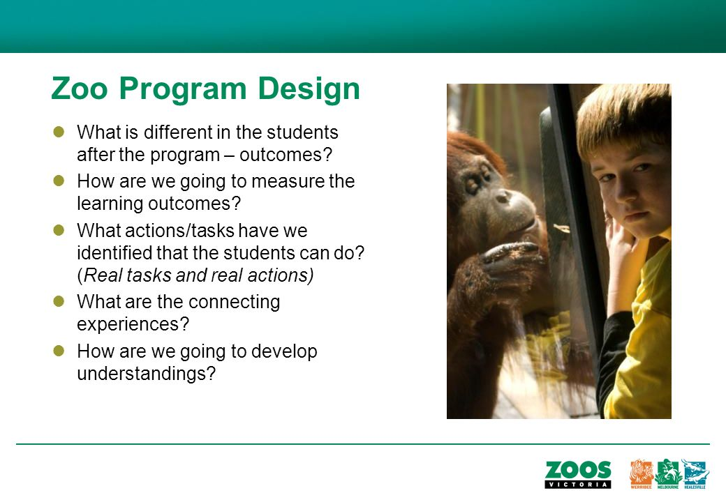 Zoo Program Design What is different in the students after the program – outcomes.