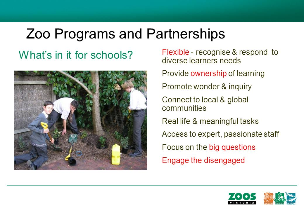 Zoo Programs and Partnerships Whats in it for schools.