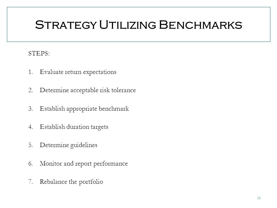 15 Strategy Utilizing Benchmarks STEPS: 1.Evaluate return expectations 2.Determine acceptable risk tolerance 3.Establish appropriate benchmark 4.Establish duration targets 5.Determine guidelines 6.Monitor and report performance 7.Rebalance the portfolio