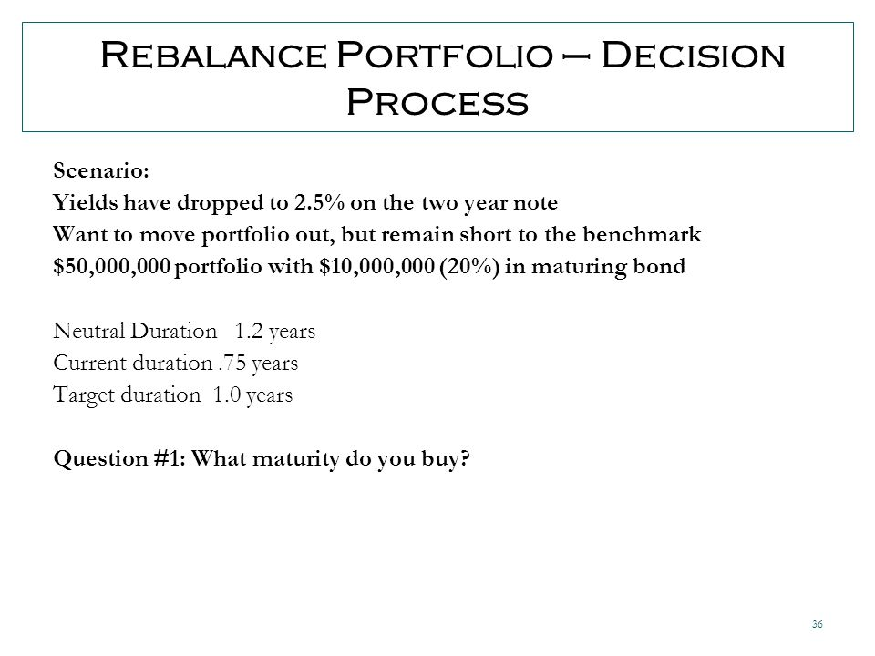 36 Rebalance Portfolio – Decision Process Scenario: Yields have dropped to 2.5% on the two year note Want to move portfolio out, but remain short to the benchmark $50,000,000 portfolio with $10,000,000 (20%) in maturing bond Neutral Duration 1.2 years Current duration.75 years Target duration 1.0 years Question #1: What maturity do you buy
