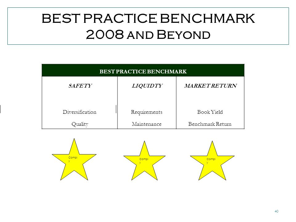 40 BEST PRACTICE BENCHMARK 2008 and Beyond Compl y BEST PRACTICE BENCHMARK SAFETYLIQUIDTYMARKET RETURN DiversificationRequirementsBook Yield QualityMaintenanceBenchmark Return
