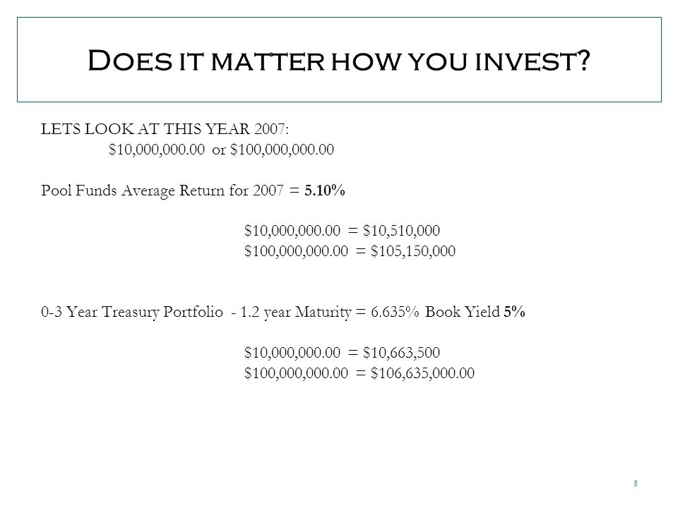 8 Does it matter how you invest.