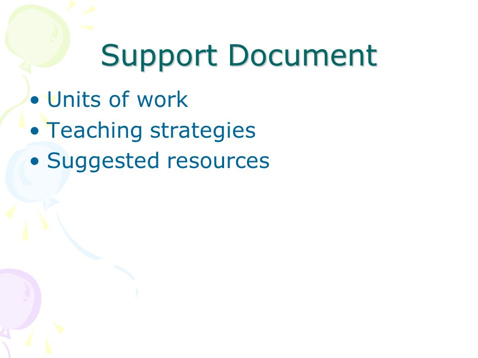 Support Document Units of work Teaching strategies Suggested resources